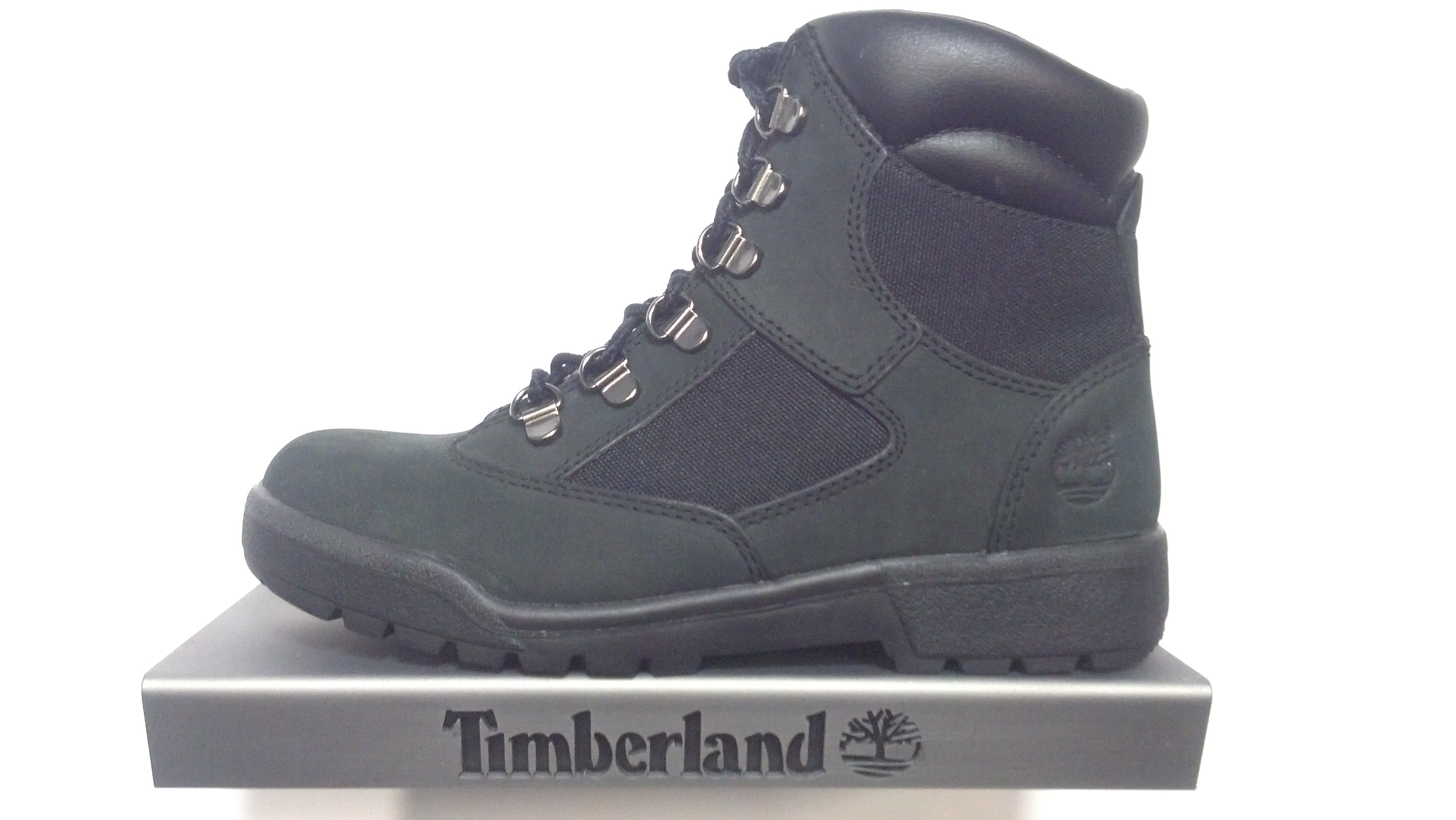 all black timberland field boots
